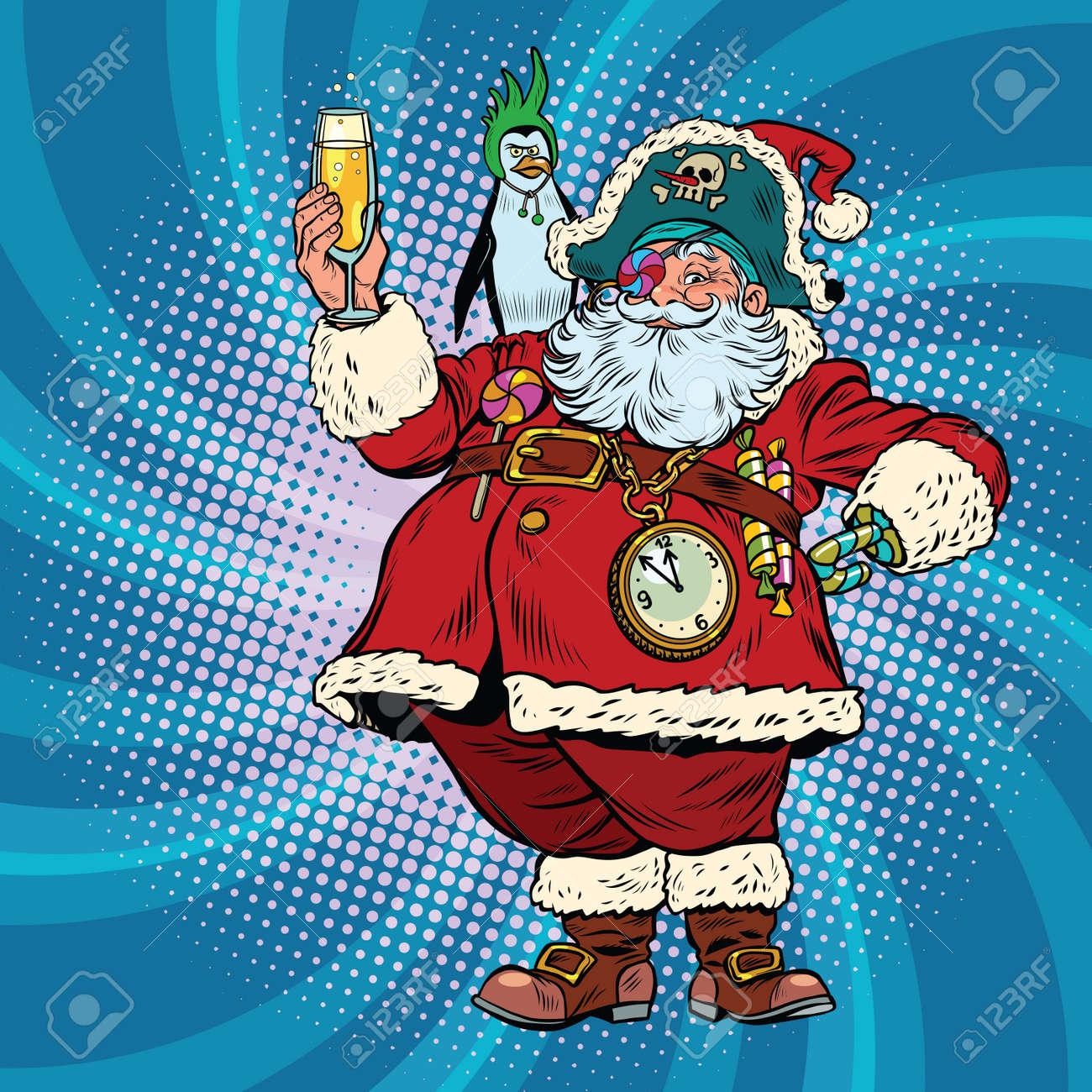 Weihnachtsmann Pirat Wünscht Frohe Weihnachten. Pop-Art Retro Vektor ...