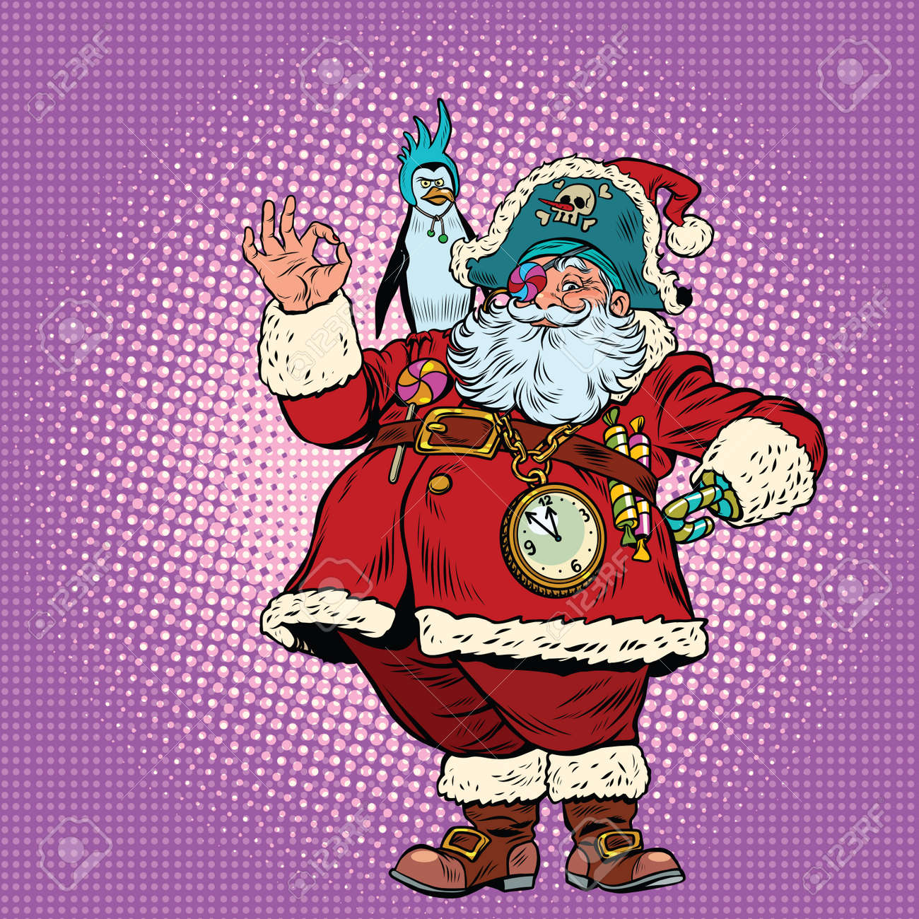 santa claus pirate and penguin okay gesture pop art retro vector illustration new year