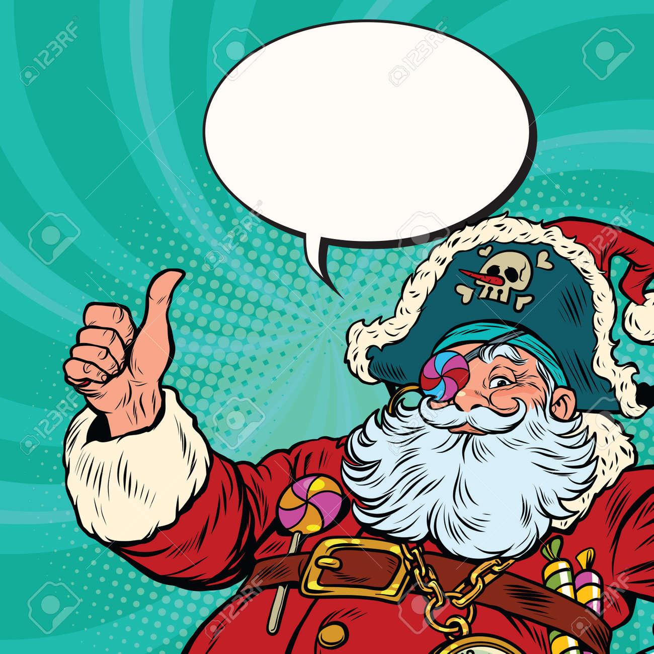 Joyeux Noel Souhaite.Le Pirate Du Pere Noel Souhaite Un Joyeux Noel Illustration Vectorielle Retro Pop Art