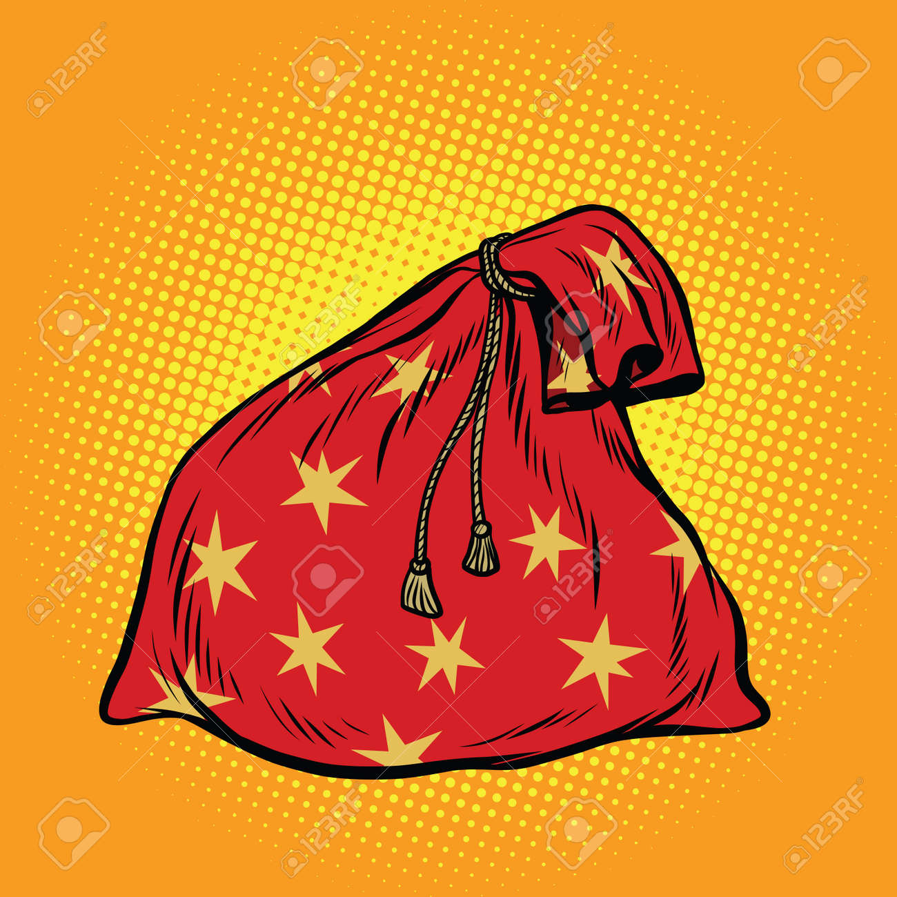 Christmas Gift Bag Santa Claus Pop Art Retro Vector Illustration Stock