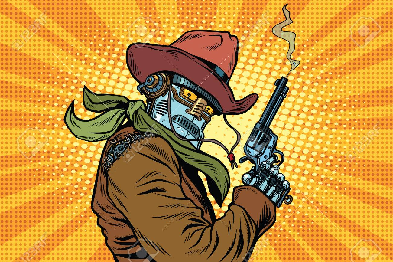 Steampunk robot cowboy with Smoking after firing a revolver, pop art retro vector illustration. Western style. Science fiction - 69114649