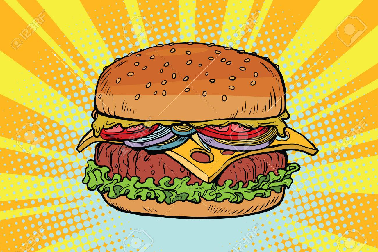 retro juicy delicious burger with meat and salad comic pop art