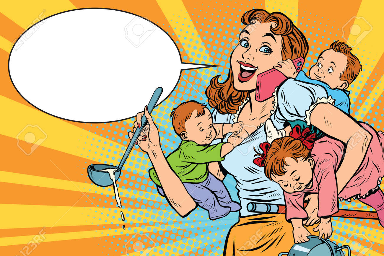 Cheerful mother with three children working and talking on the phone. Comic pop art illustration vector drawing - 70971416
