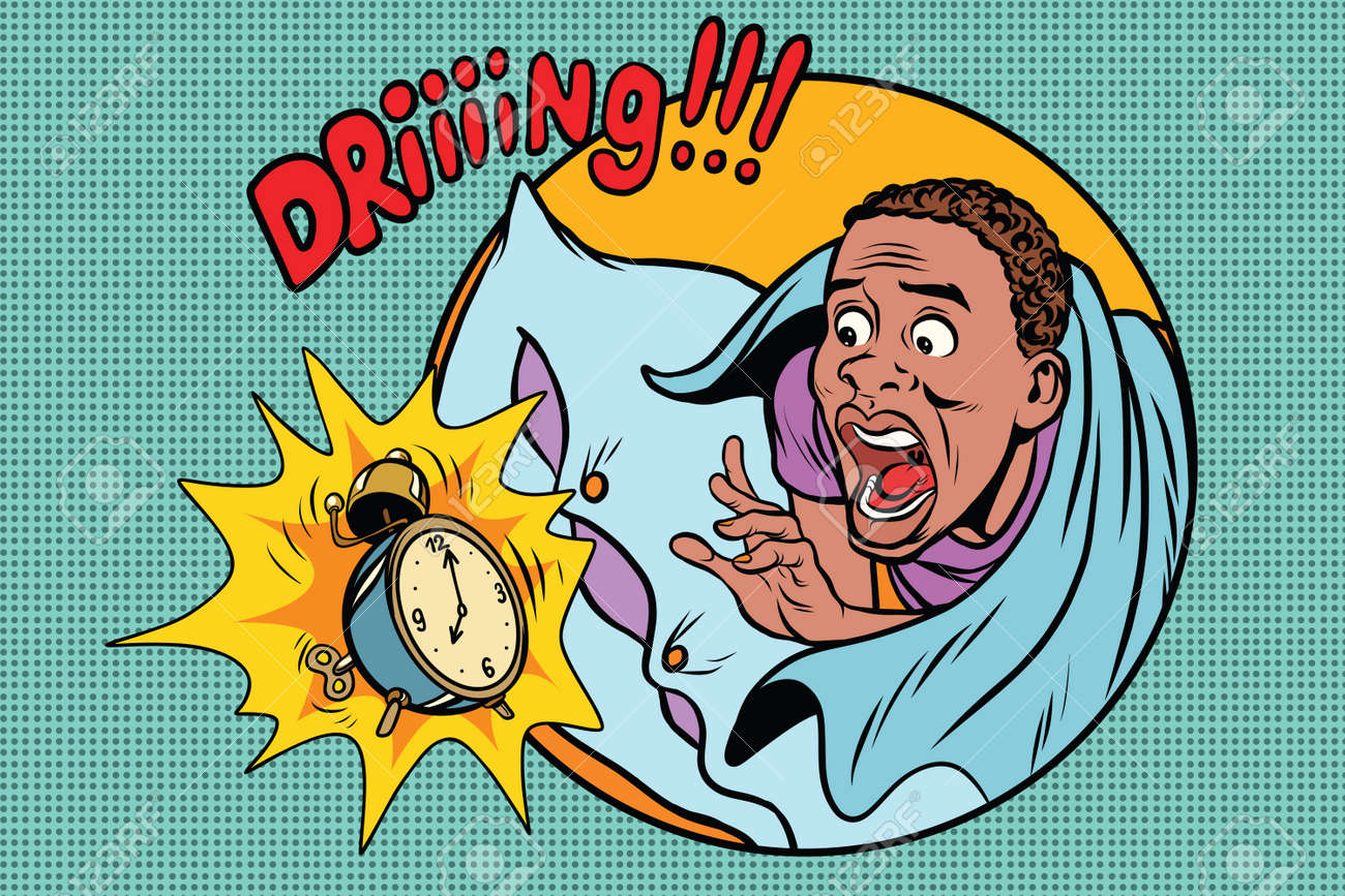 Man Wakes Up Alarm Clock. Retro Comic Book Style Pop Art Retro ...