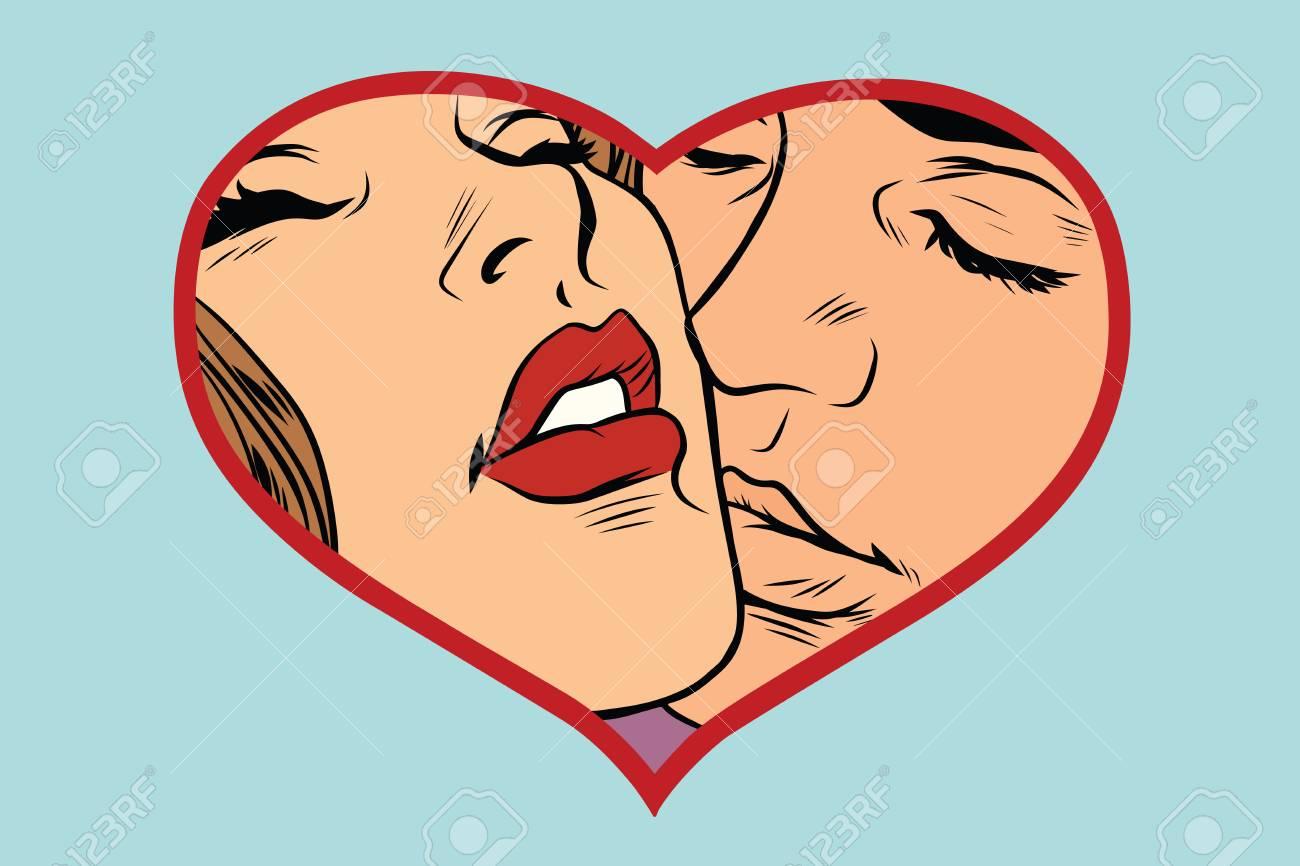 Hombre Y Mujer Besándose Corazón Del Amor Pareja Romantica Cómic