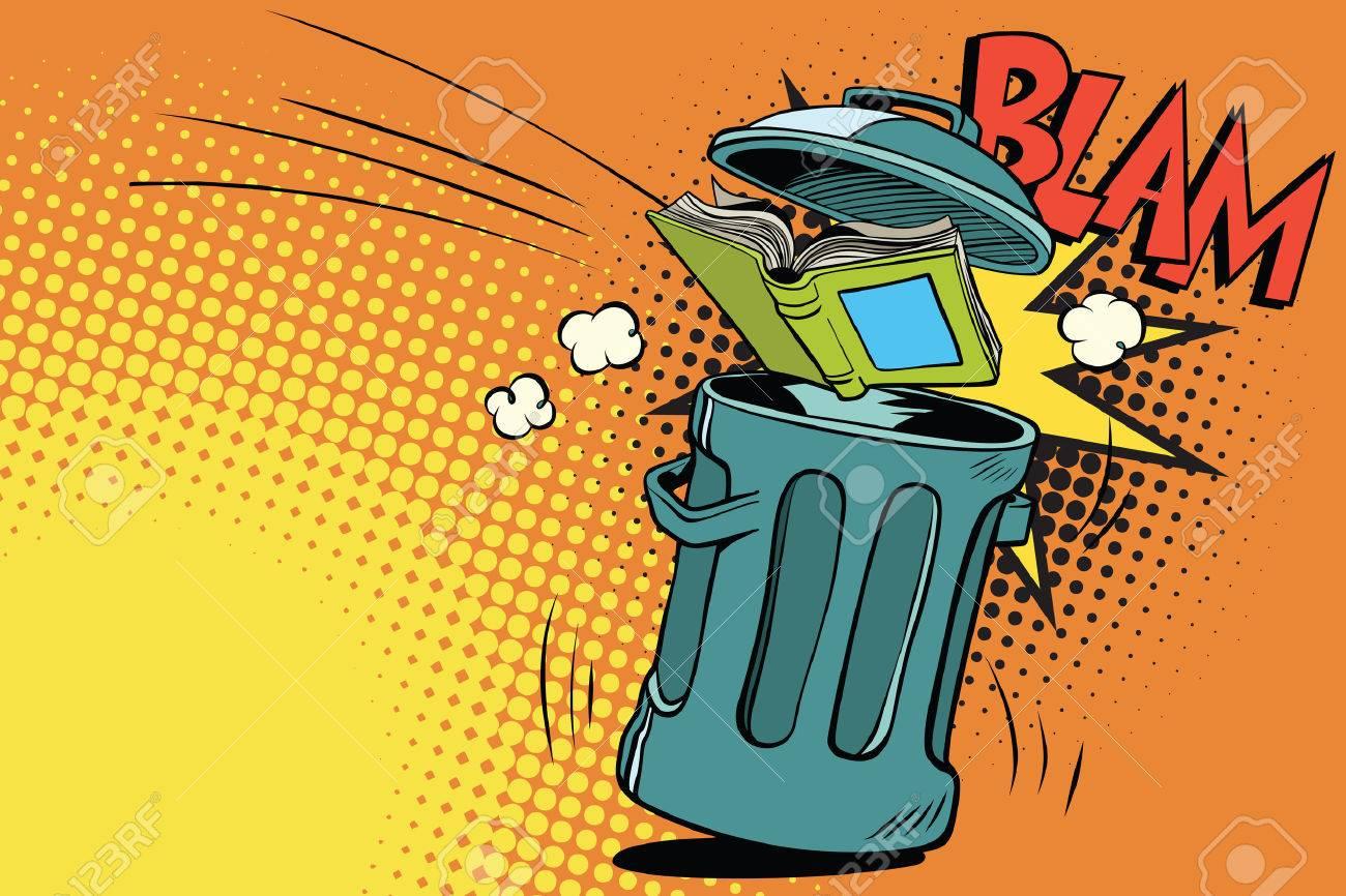 Book thrown in the trash. Comic book cartoon pop art retro color vector illustration hand drawn - 78444440