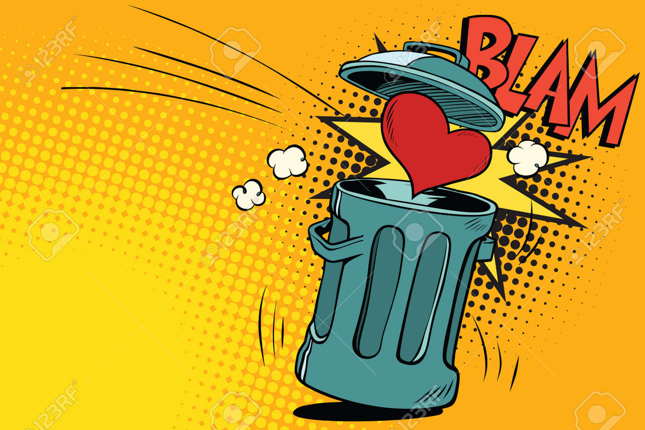 end of love, heart thrown in the trash. Cartoon comic illustration pop art retro style vector - 79377165