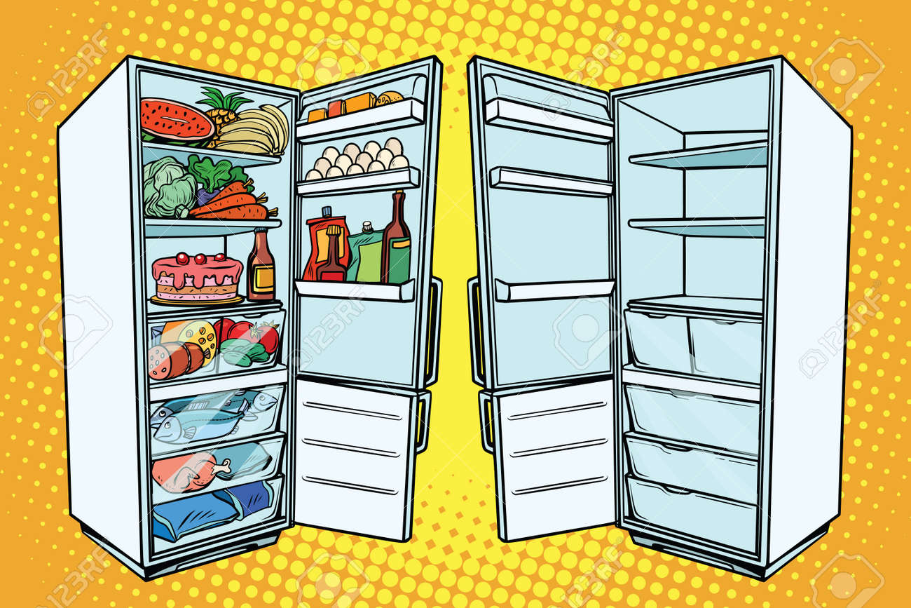 Two refrigerators. One with food and the other empty. Comic cartoon style pop art retro vector color drawing illustration - 80556902