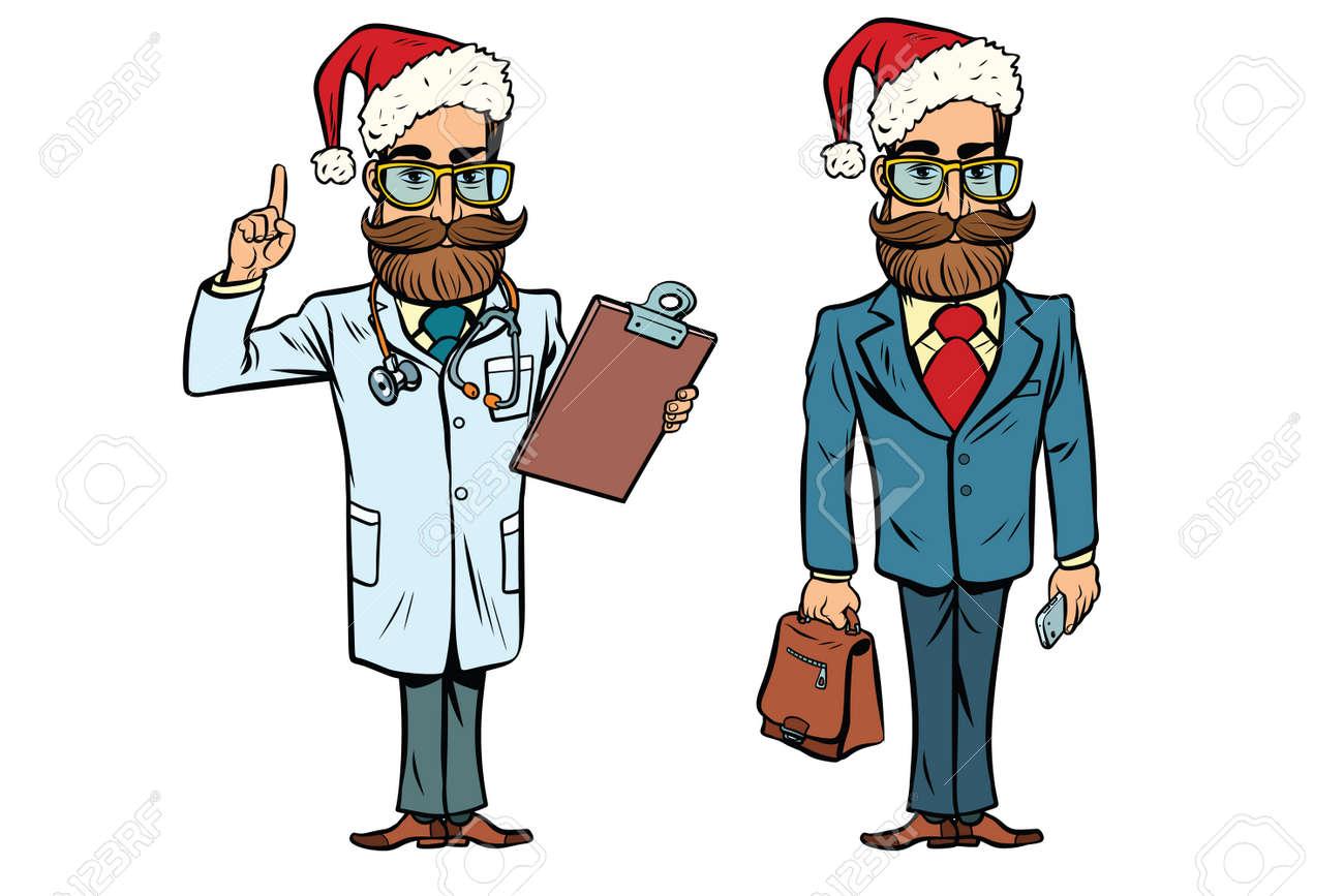 Hipster Weihnachtsarzt Und Geschäftsmann. Comic-Comic-Stil Pop-Art ...
