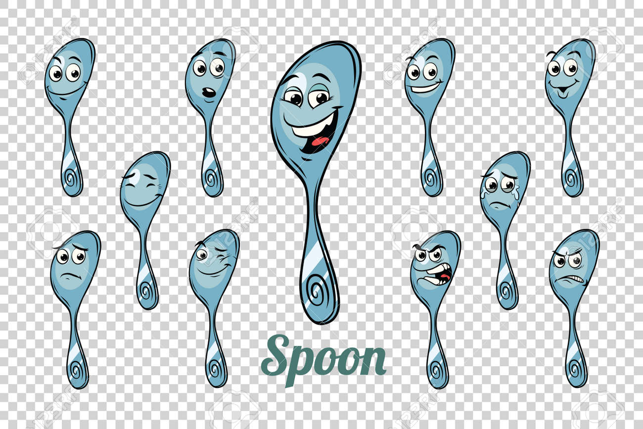 spoon emotions characters collection set. Isolated neutral background. Retro comic book style cartoon pop art vector illustration - 82281082