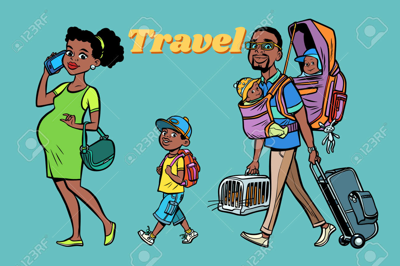 47c4c0906c1e9 ... pop art retro vector style. African family travelers, mom dad and kids. A  pregnant woman and caring man.