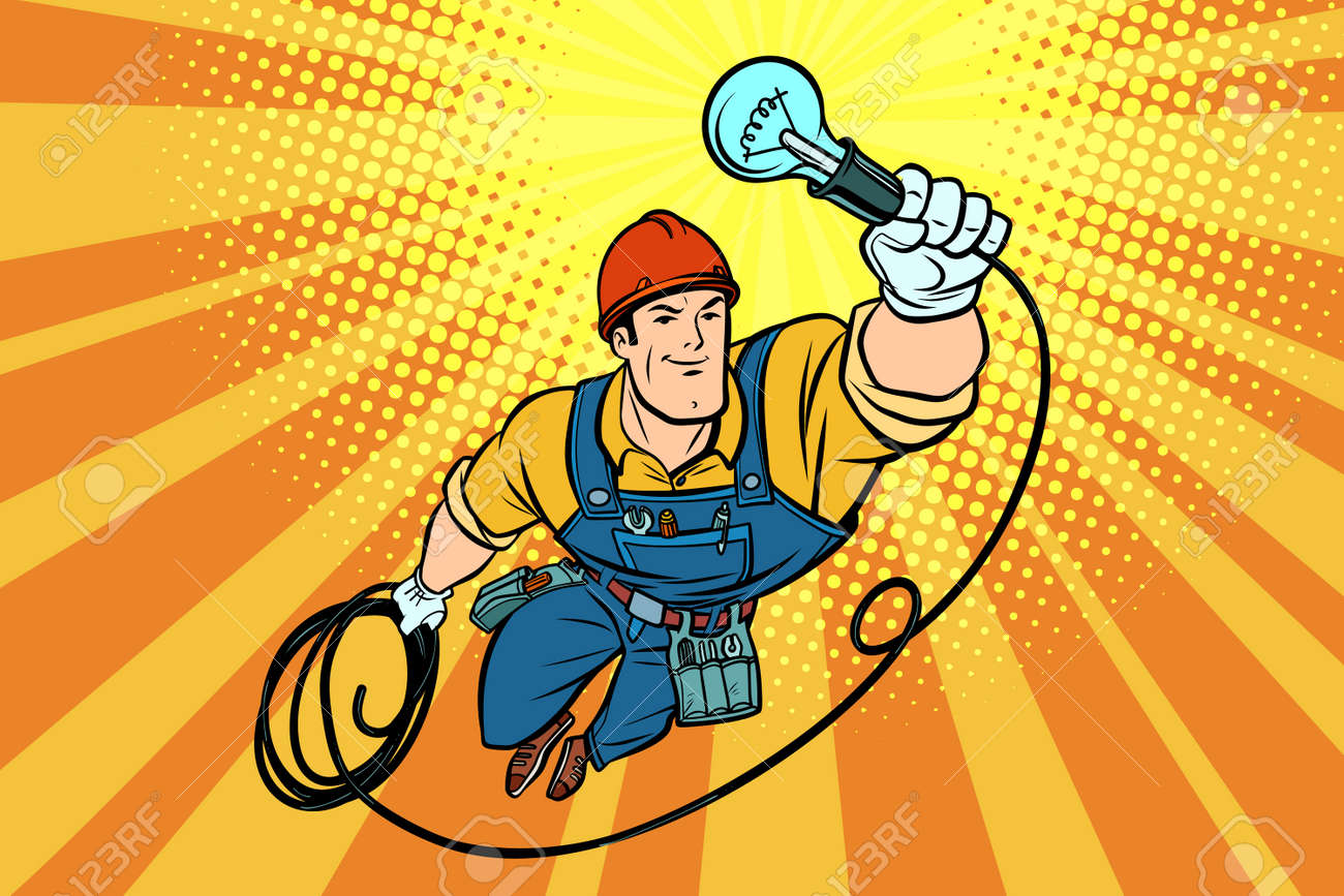 Worker electrician light bulb flying superhero. Comic book cartoon pop art retro vector illustration drawing - 87717989
