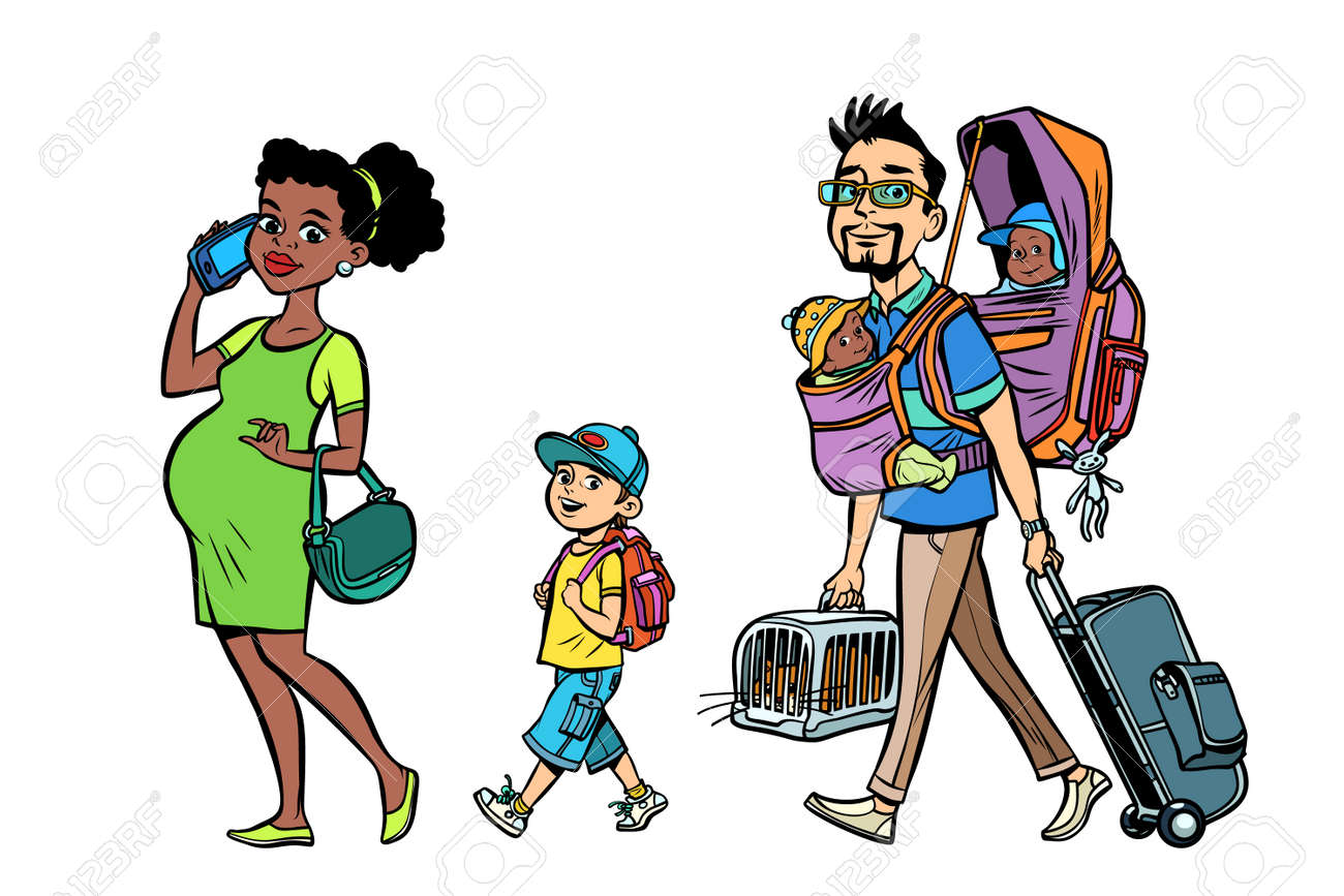 35160454cd72b ... pop art retro vector style. Multi ethnic family travelers, mom dad and  kids. A pregnant woman and caring man