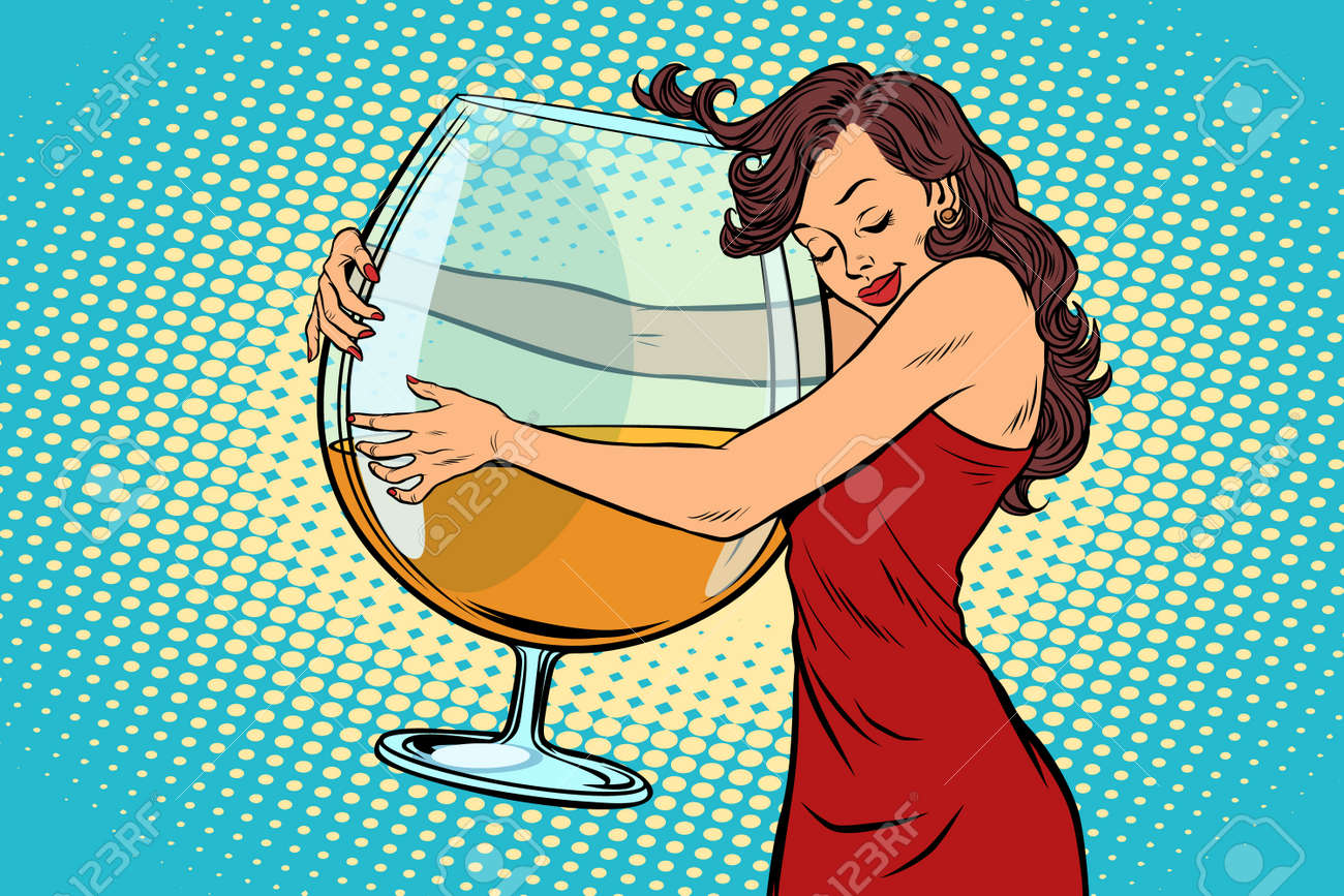 A woman hugging a glass of wine vector illustration. - 88676958