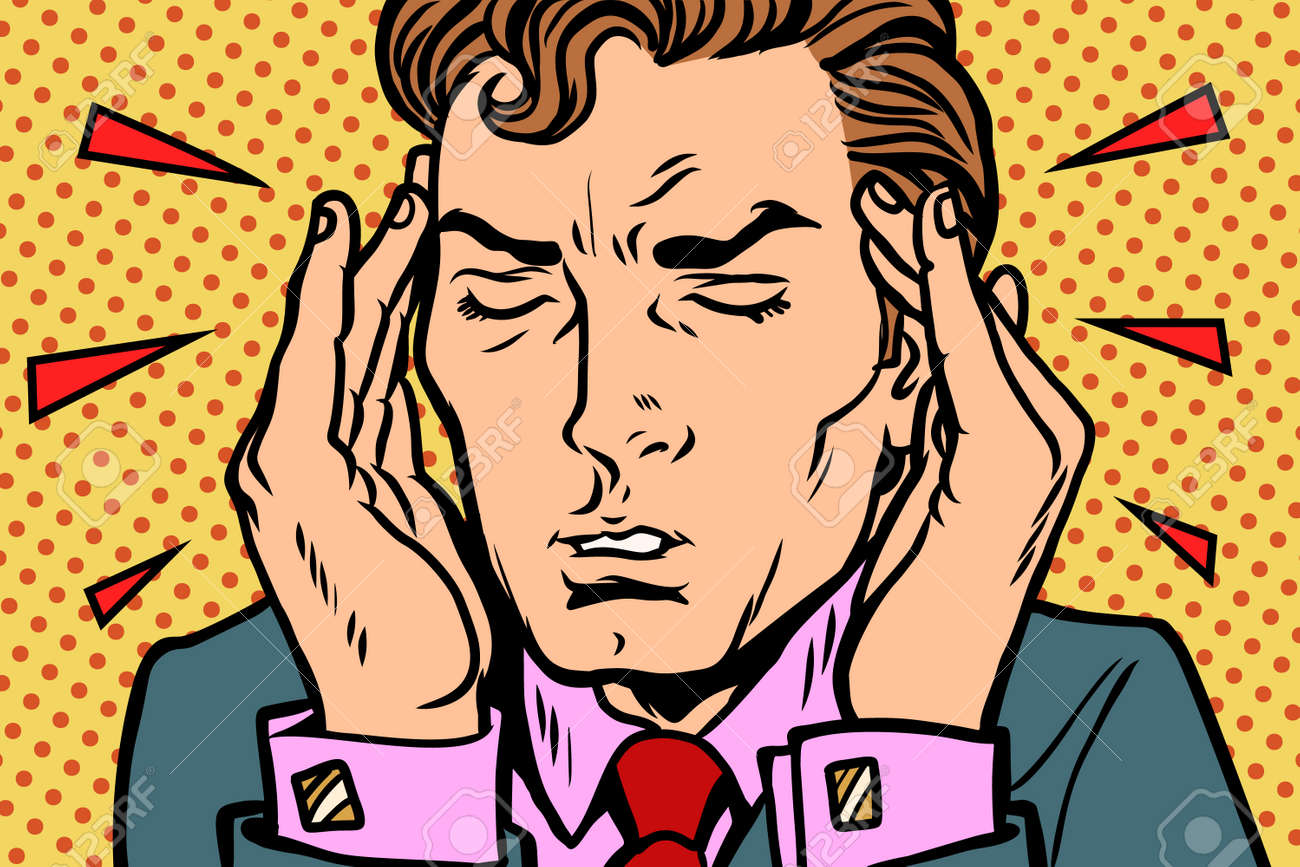 Man with severe headache. Comic book cartoon pop art retro Illustrator vector drawing - 90774532