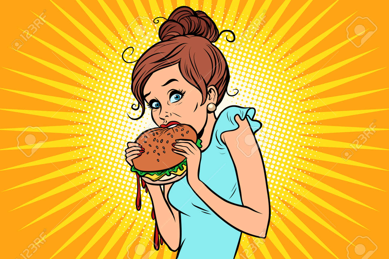 Overeating fast food. Woman secretly eating a Burger - 91001695