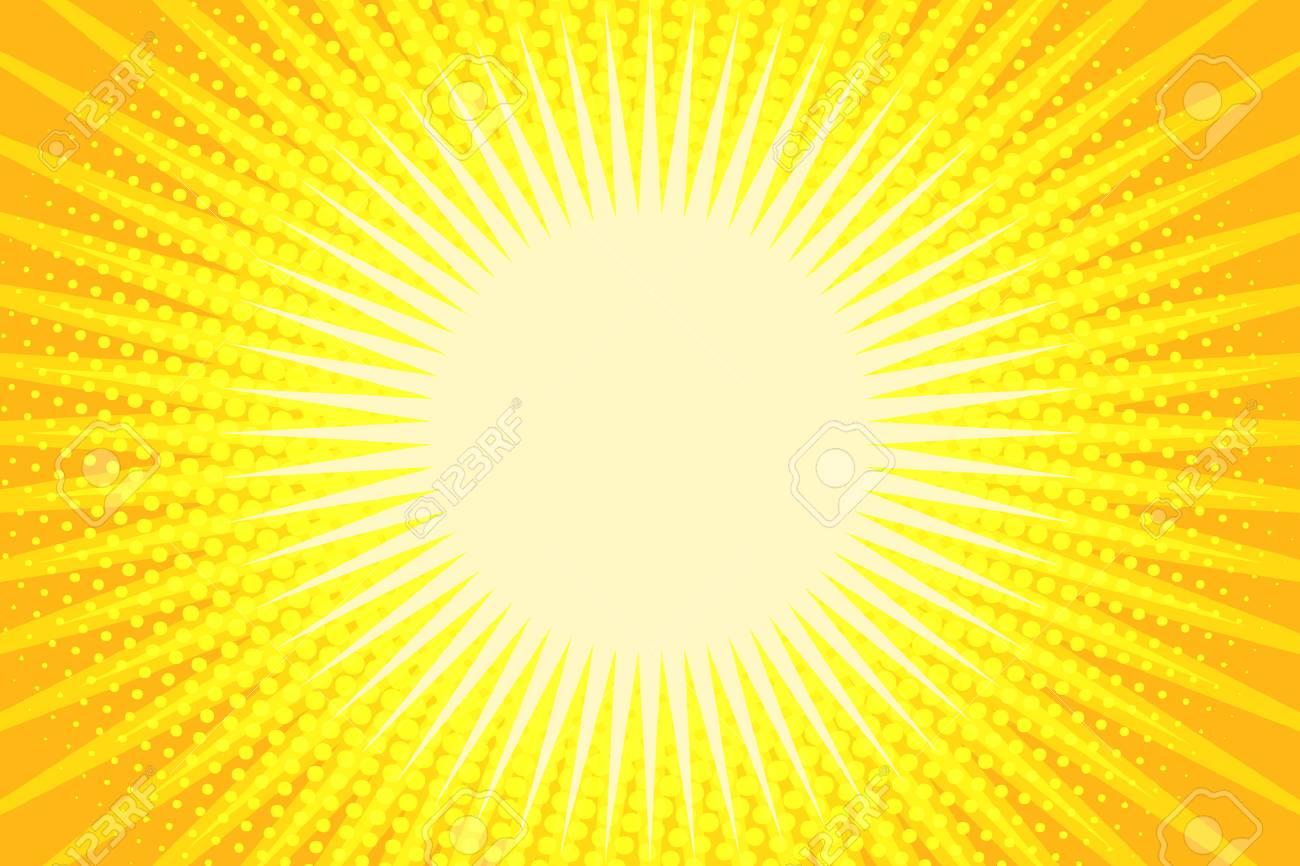 Yellow rays pop art background. Comic book cartoon pop art retro illustration - 91648849