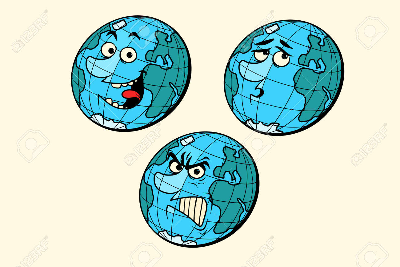 Definir Emocoes Personagens Do Planeta Terra Isolar Se No Fundo