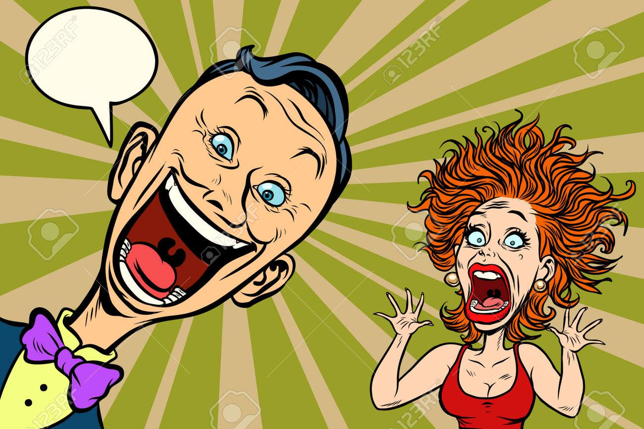 joyful man and scared woman. Comic book cartoon pop art illustration retro drawing - 94284811