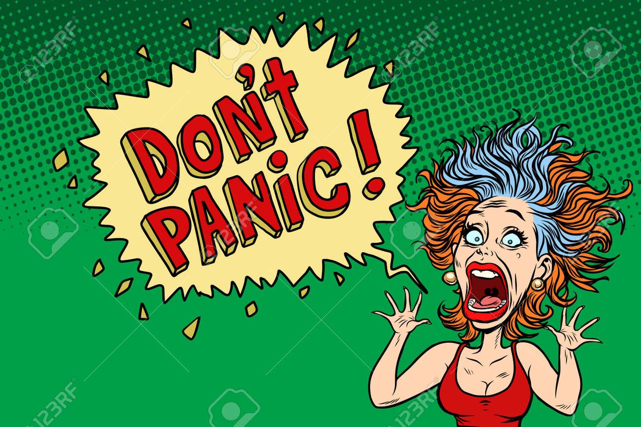 panic funny woman. Comic book cartoon pop art illustration retro drawing - 94284813
