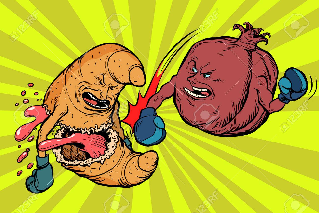 Pomegranate fruit beats a croissant, vegetarianism vs fast food