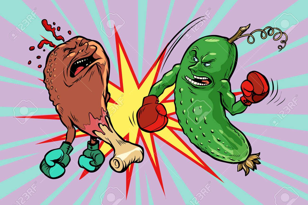 Cucumber beats fast food fried chicken leg