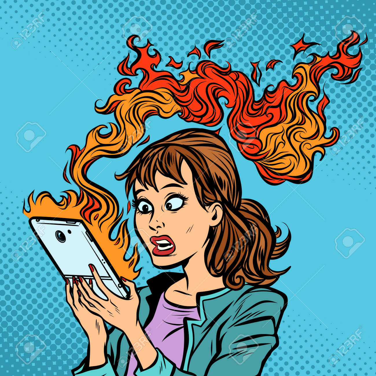 Woman with a burning phone. Hot news. Ignition of the battery - 104790721