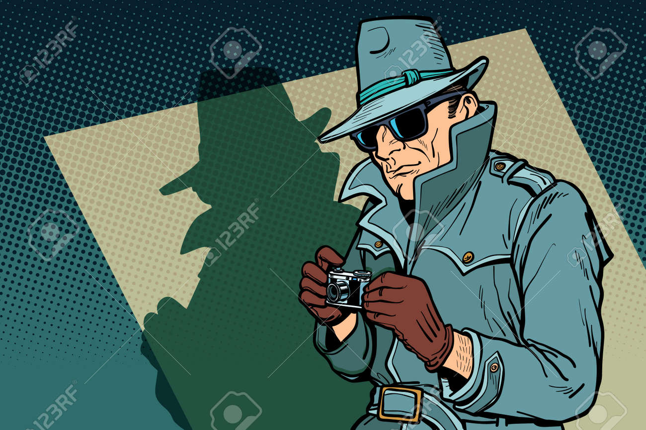 detective spy, shadow. Comic cartoon pop art retro vector illustration drawing - 112275797