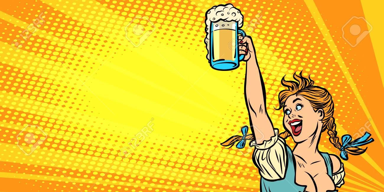 Oktoberfest beer. Woman waitress in traditional German costume. Comic cartoon pop art retro vector illustration drawing - 108248912