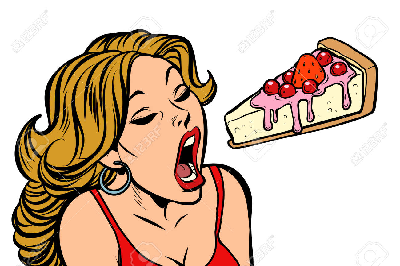 Woman Eating Cake. Sweet Dessert. Comic Cartoon Pop Art Retro ...