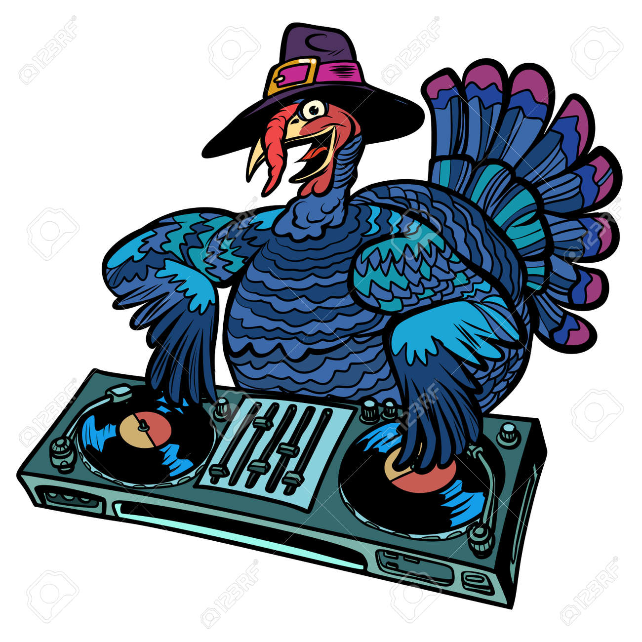 Thanksgiving Turkey character. DJ at the holiday party. Isolate on white background. Comic cartoon pop art retro vector illustration - 109879380