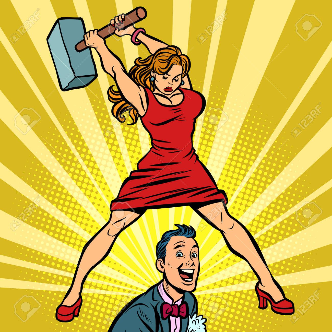 Woman beats a man with a hammer. Comic cartoon pop art retro vector illustration drawing - 109282561