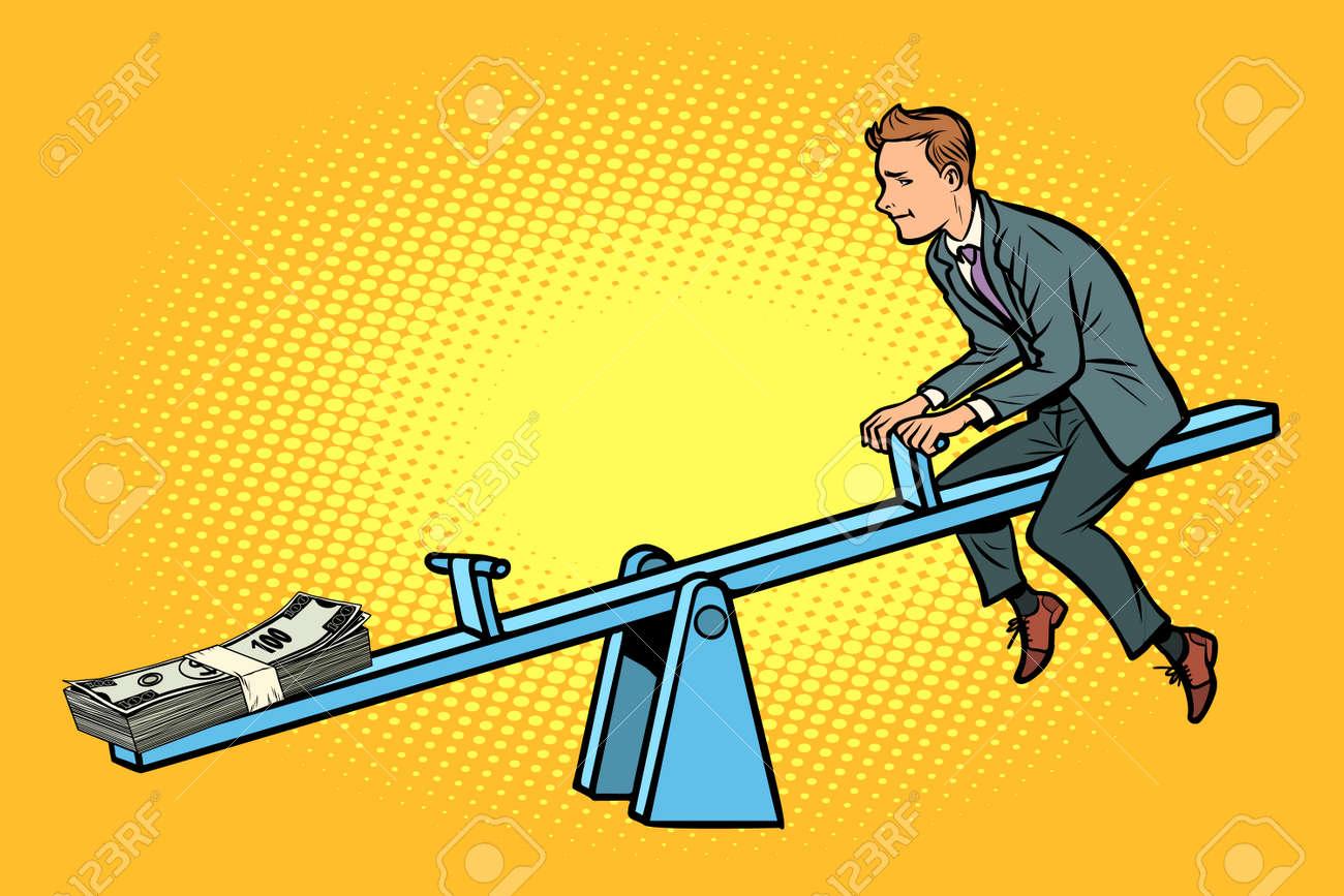 Money business balance. Of a seesaw. Swing Board balancer - 117196188