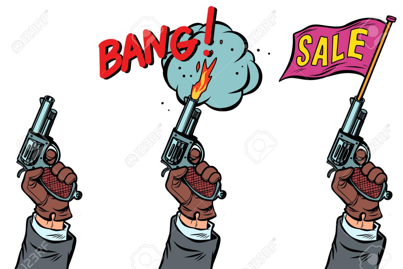 pistol starter kit and sale. Comic cartoon pop art retro vector illustration drawing - 125832275