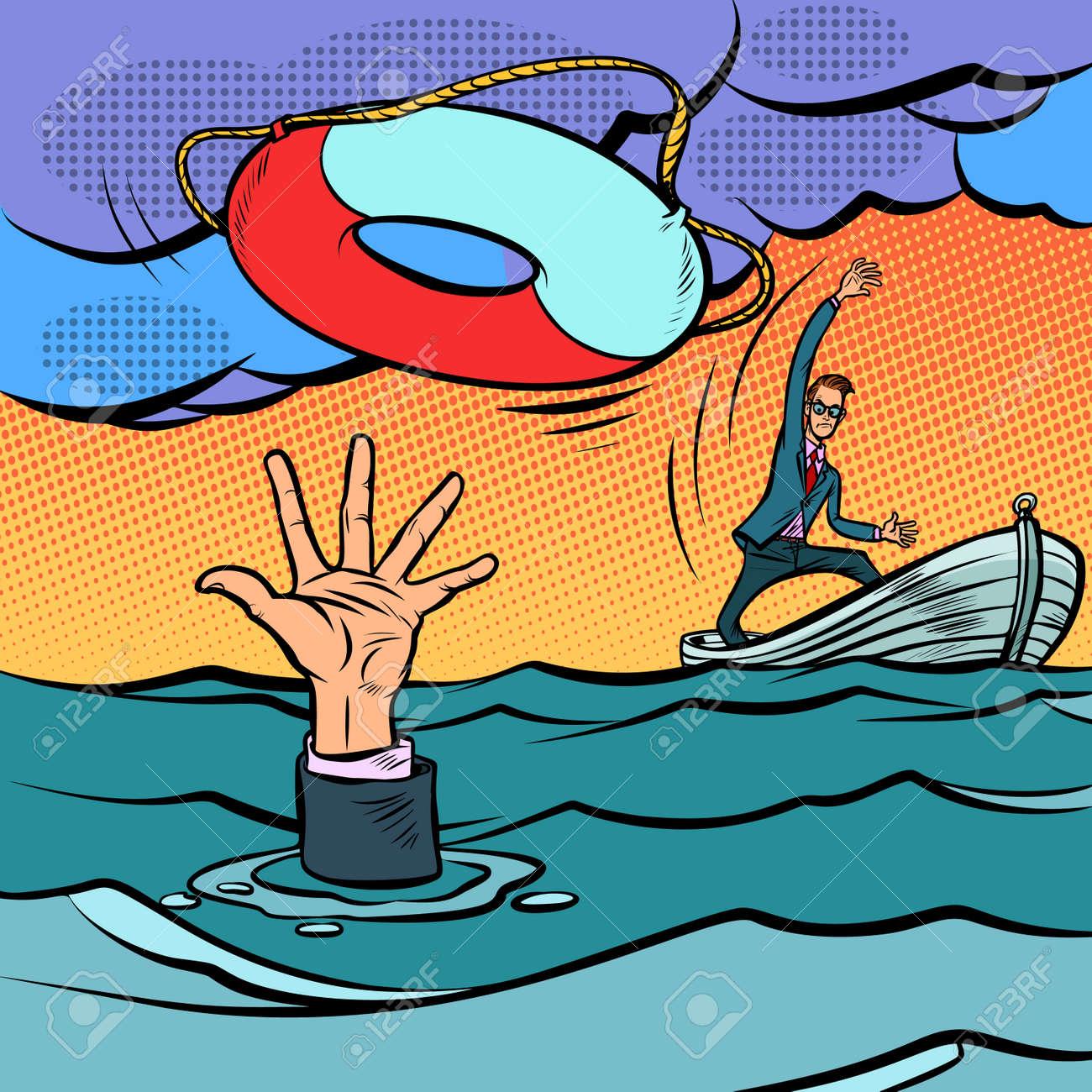 businessman and lifeline. saving the business. life insurance. Comic cartoon pop art retro vector illustration hand drawing - 125832277