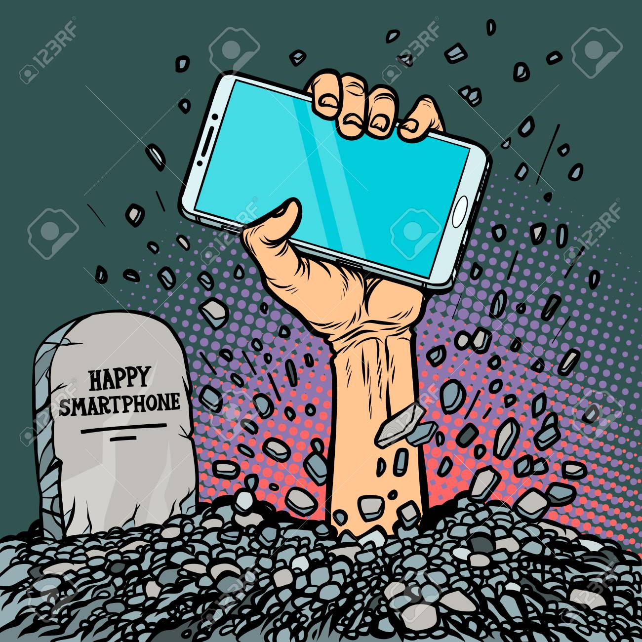 happy smartphone. zombie hand from the grave - 117196259