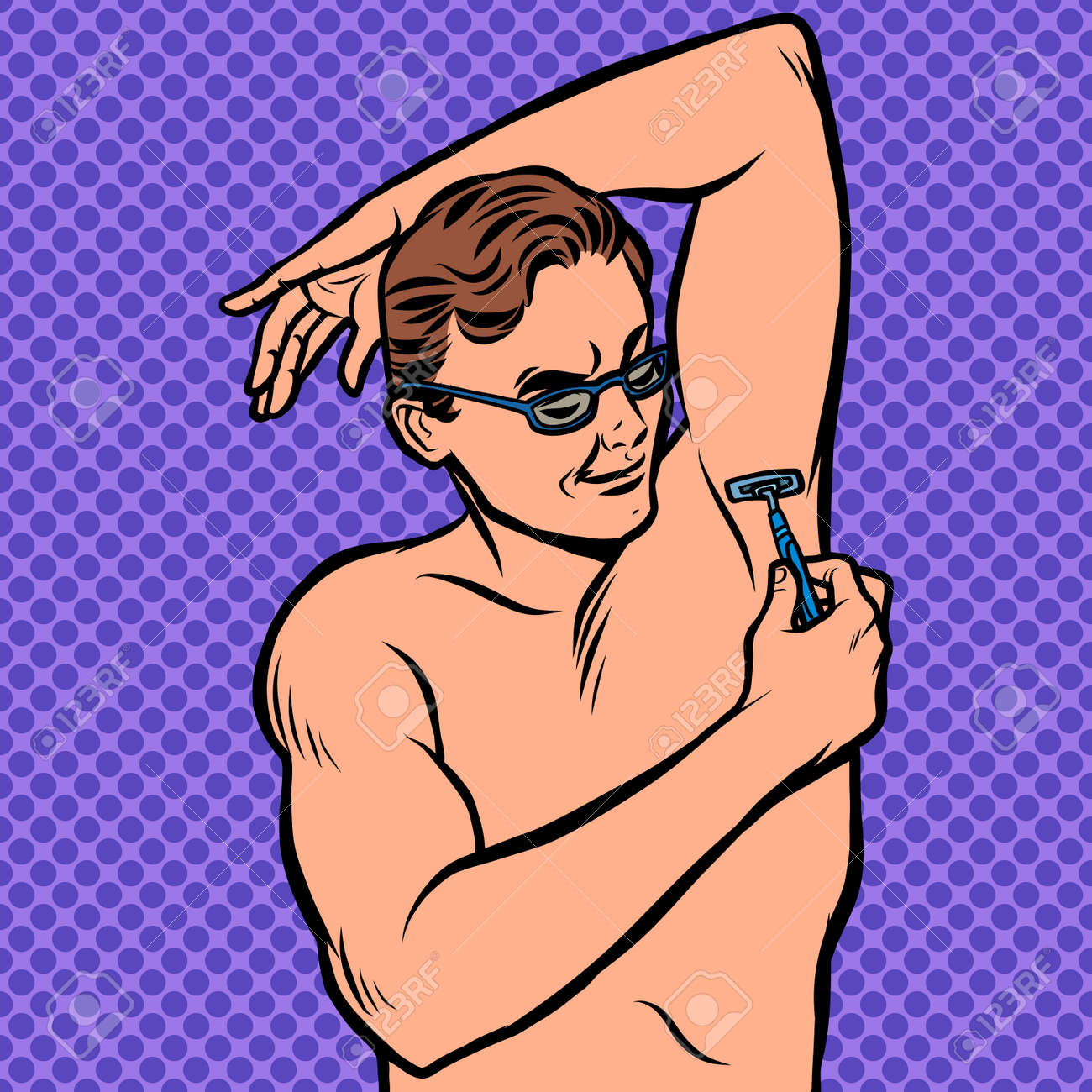 a man shaves his armpit with a razor - 130416653