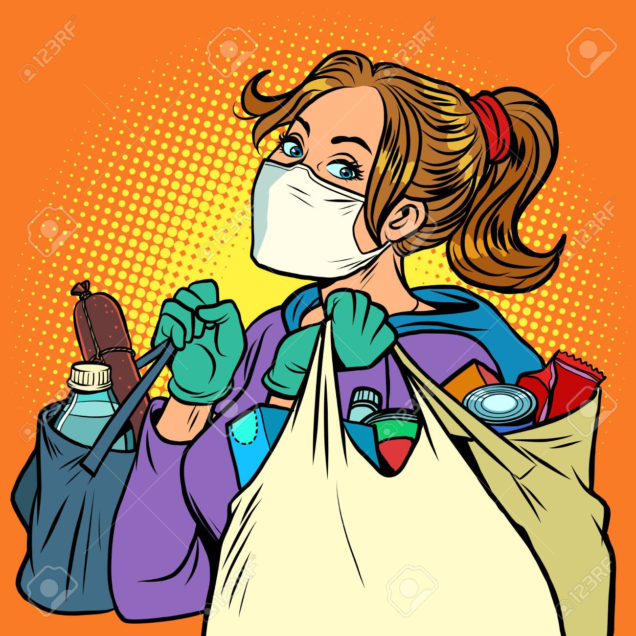 a woman in a medical mask with bags of food. Comics caricature pop art retro illustration drawing - 146269180