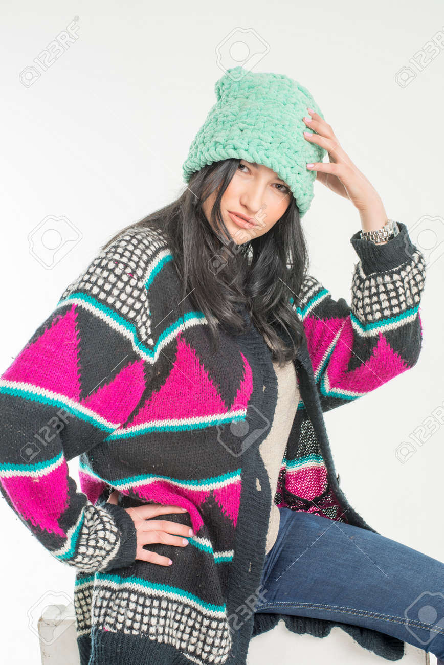b5ee9adfab43 Young girl in wool cap Stock Photo - 69340229