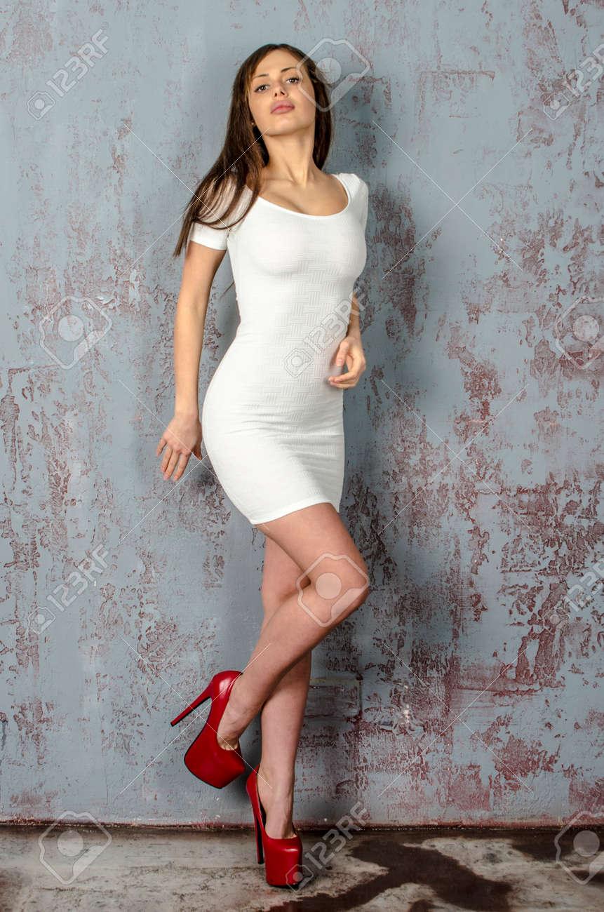 Trendy White Dress In.. Stock Photo