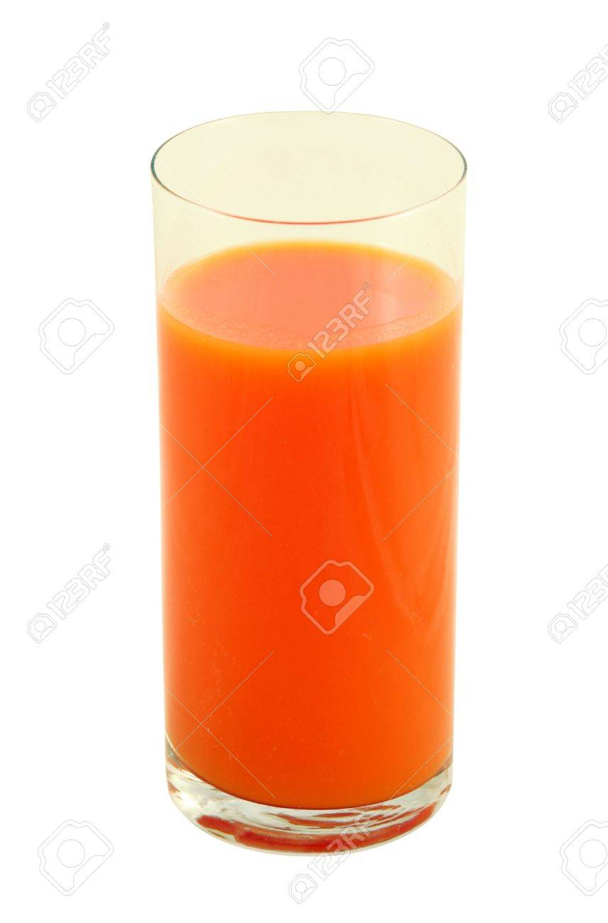 Glass of fresh carrot juice isolated over white. Stock Photo - 420233