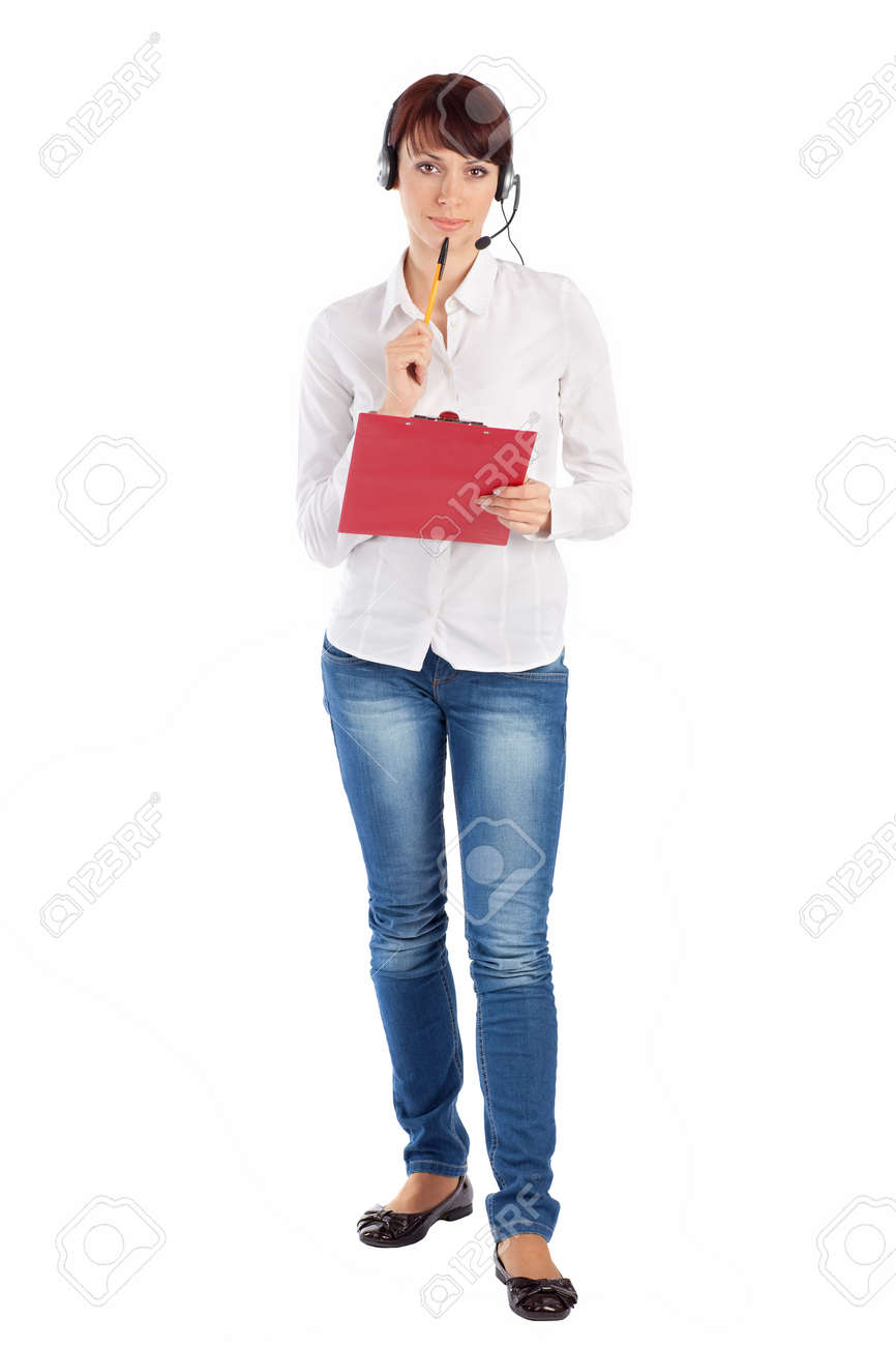 Female customer service representative with headset and clipboard in thoughtful pose, isolated on white background. Stock Photo - 6268509