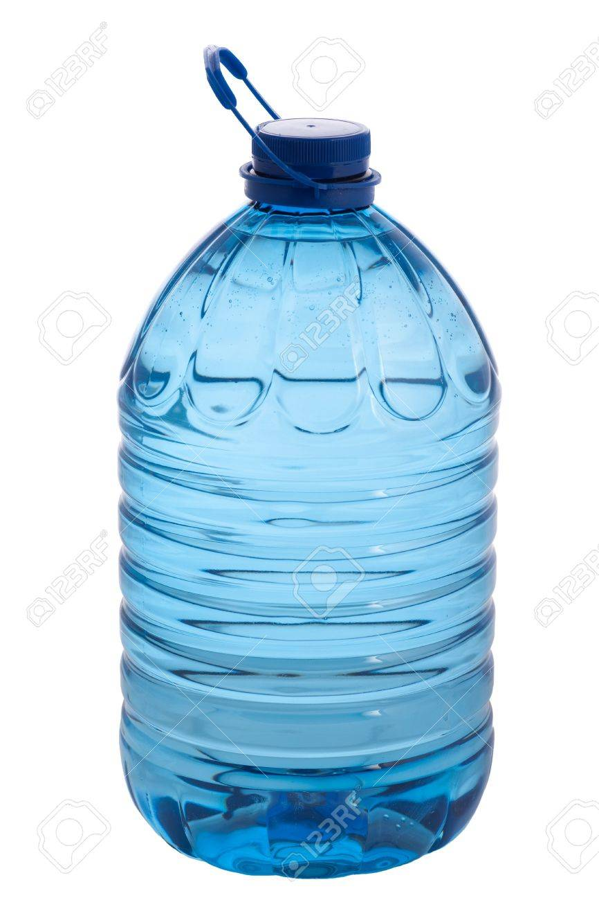 crystal clear mineral water in large 5 litre bottle isolated