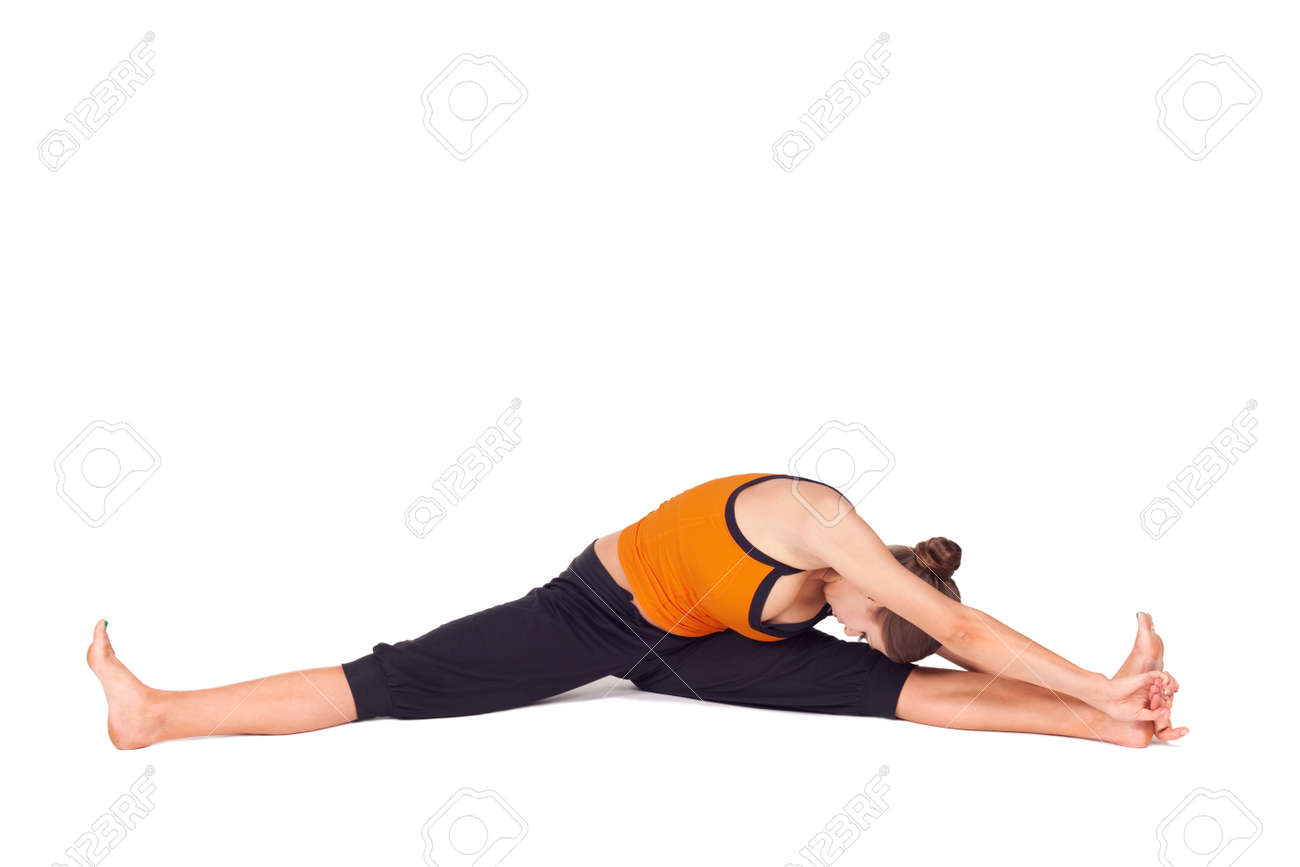 Woman Doing Yoga Exercise Called Side Seated Angle Pose Sanskrit