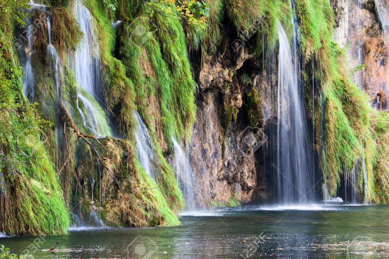 Small Waterfalls In A Beautiful Scenery Of The Plitvice Lakes National Park Croatia Stock Photo
