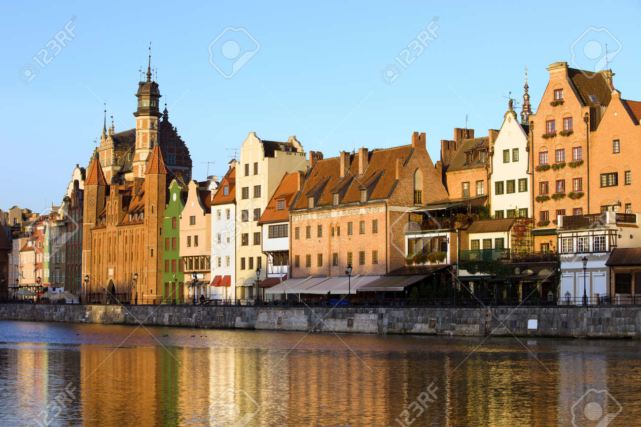 Early morning at the Old Town by the Motlawa river in the city of Gdansk, Poland Stock Photo - 12209440