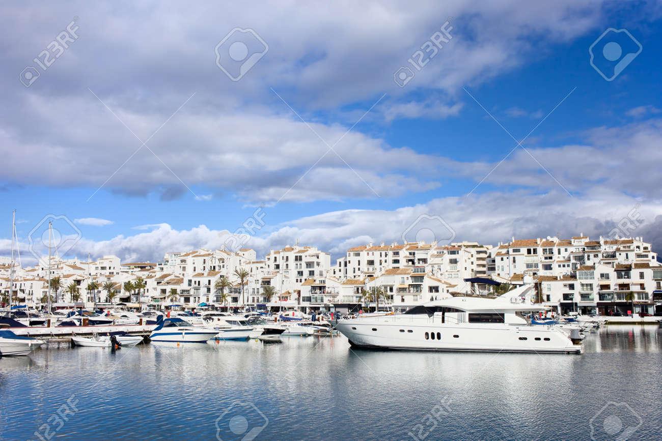 Luxury marina in Puerto Banus on Costa del Sol, near Marbella in southern Spain, Andalusia region, Malaga province. Stock Photo - 13713321