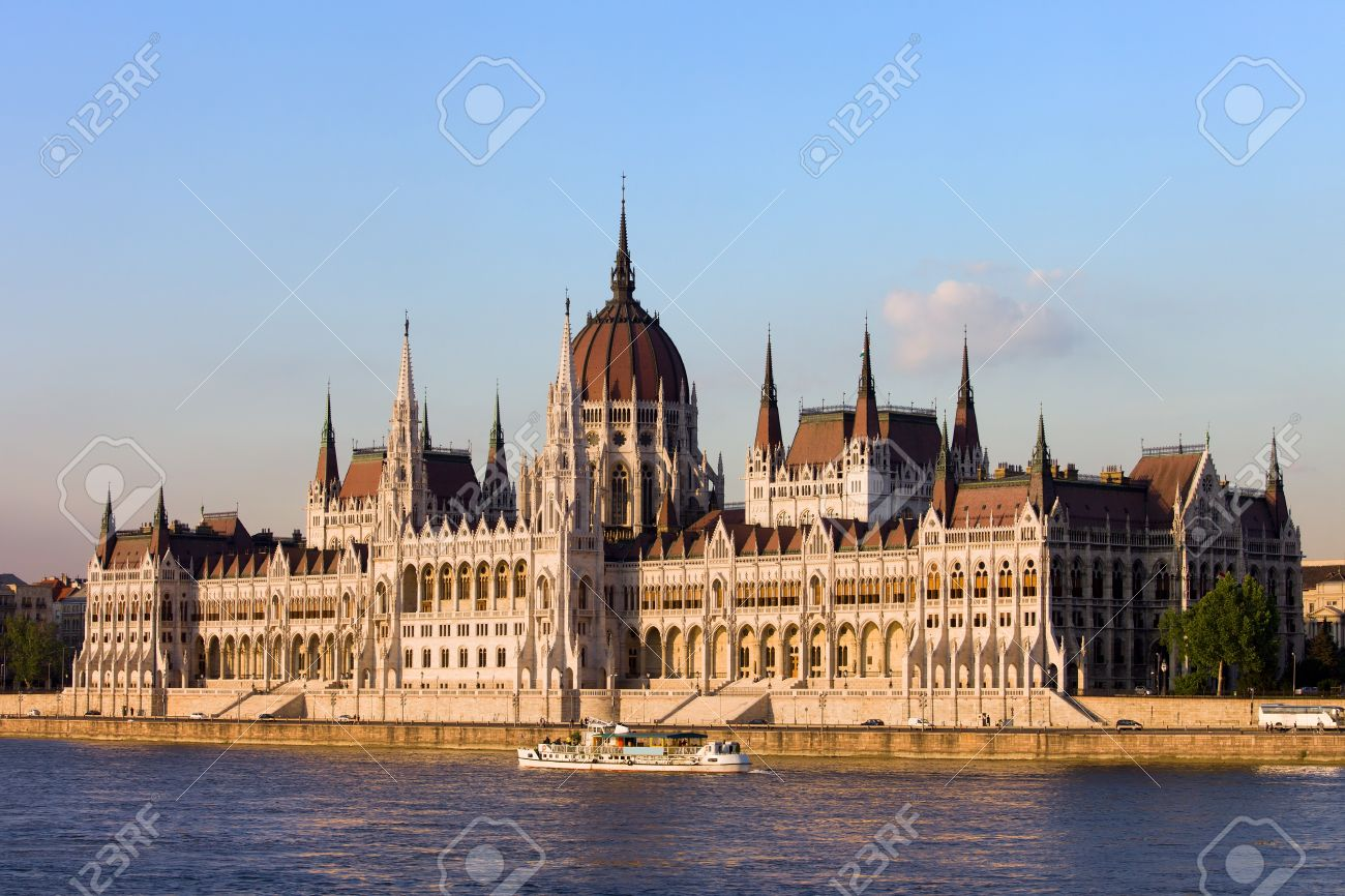 Hungarian Parliament Building Gothic Revival Architecture By The Danube River In Budapest Hungary Stock