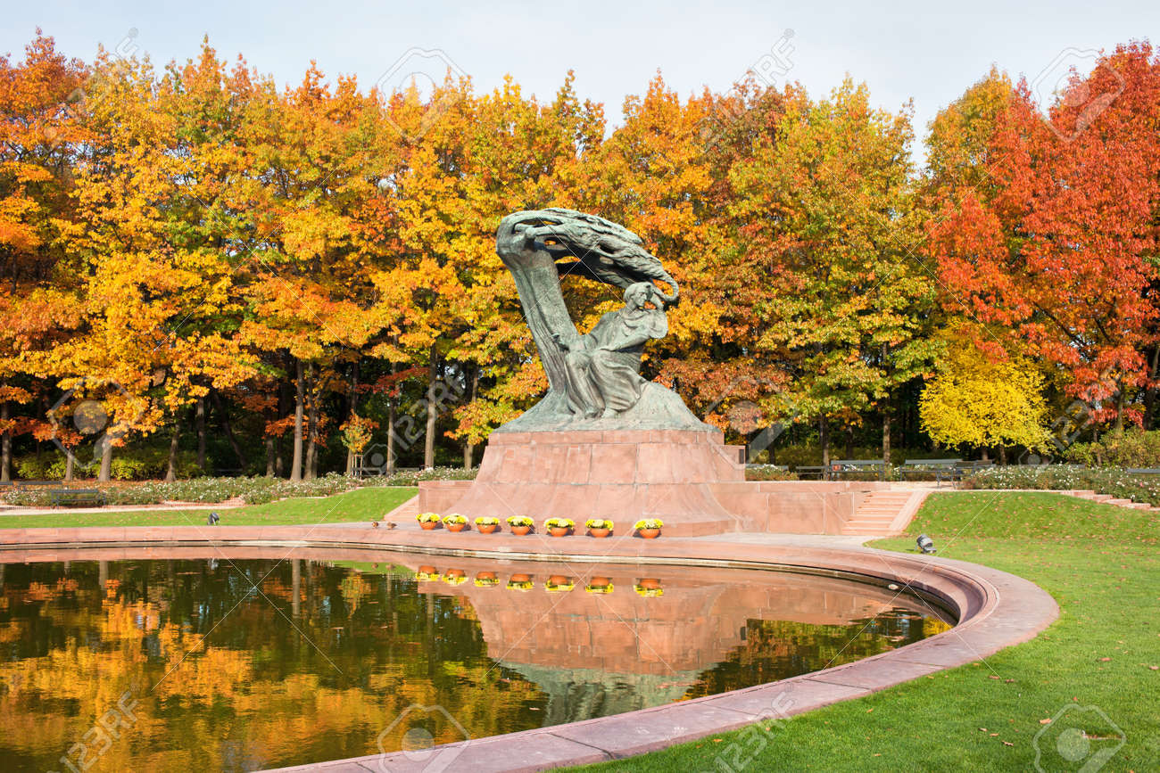 Fryderyk Chopin Monument In Autumn Scenery Of The Royal Lazienki