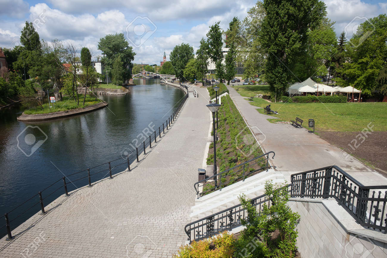 Stock photo hamburg germany riverside new - Riverside Boardwalk City Of Bydgoszcz In Poland Brda River Promenade And Alley In A